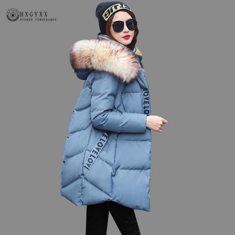 Fur Hood Down Cotton Jackets Women Winter 2019 Big Size Quilted Coat Long Thick Warm China Clothing Letters Print Parka Okd729
