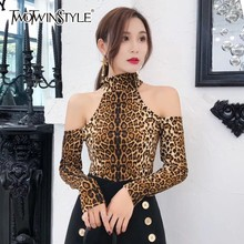 Buy TWOTWINSTYLE Sexy Shoulder Print Leopard T-shirts Women Halter Collar Long Sleeve T-shirt Tops Female 2018 Autumn Tide