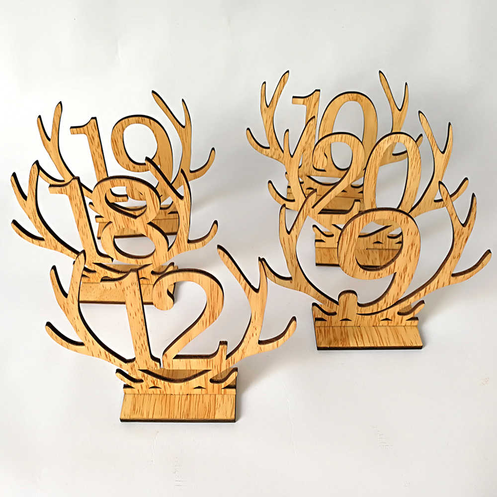 1-20 Antler Wooden Table Cards Number Sets Hollow Out Ornaments For Wedding Party Favors Decoration Name Place Cards Numbers new