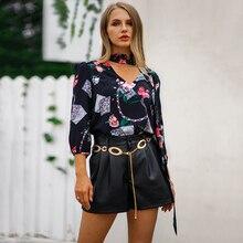 1c754281742c18 2019 Fashion New Women Vintage Blouse Floral Print V Neck Choker Three  Quarter Sleeve Loose Shirt