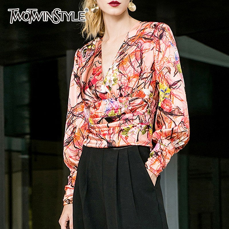 TWOTWINSTYLE Print Blouse Tops Femme V-neck Lantern Long Sleeve Ruched Tunic Women's Shirts Casual 2019 Fashion Spring New