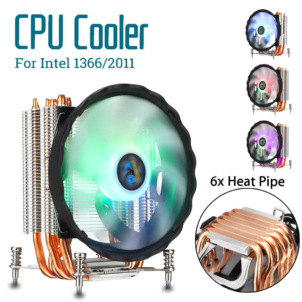 6 Heatpipe CPU Cooler with RGB Fan Cooling Heatsink Quiet 120mm CPU Fan Cooler Radiator for Intel 2011 for Aurora Light
