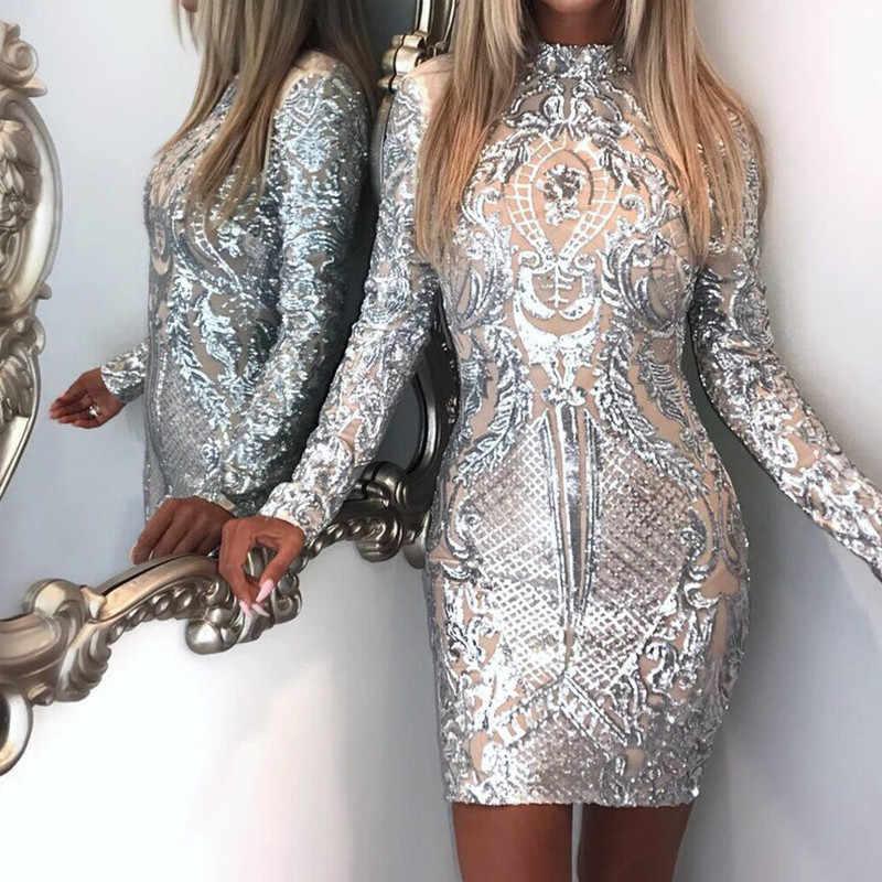 Silver Sparkly Bodycon Dress Long Sleeve Women Sequin Dress Transparent  Winter Elegant Sexy Night Club Mesh 3e49c83d4285