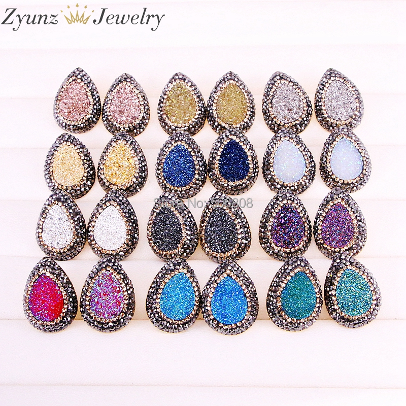 10Pairs ZYZ328-2045 Rhinestone Paved Titanium Stone Earrings Drop shape Stud Earrings Ear Stud Fashion Women Jewelr