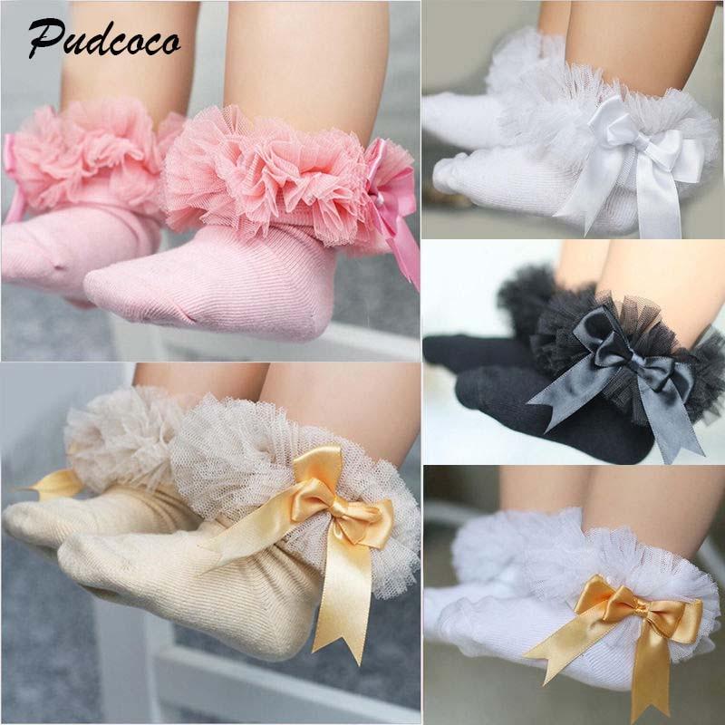 Baby Girls Frilly Socks Red  Satin Heart Trim Socks Lacy Frilly Ruffle Sock