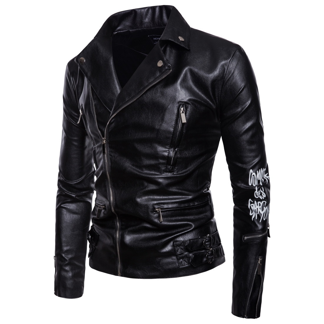 European 2019 Leather jaket men Motorcycle Bomber Dora Chain Printing Clothing  Slim fit Male  PUNK Halley Leather Jacket Coat