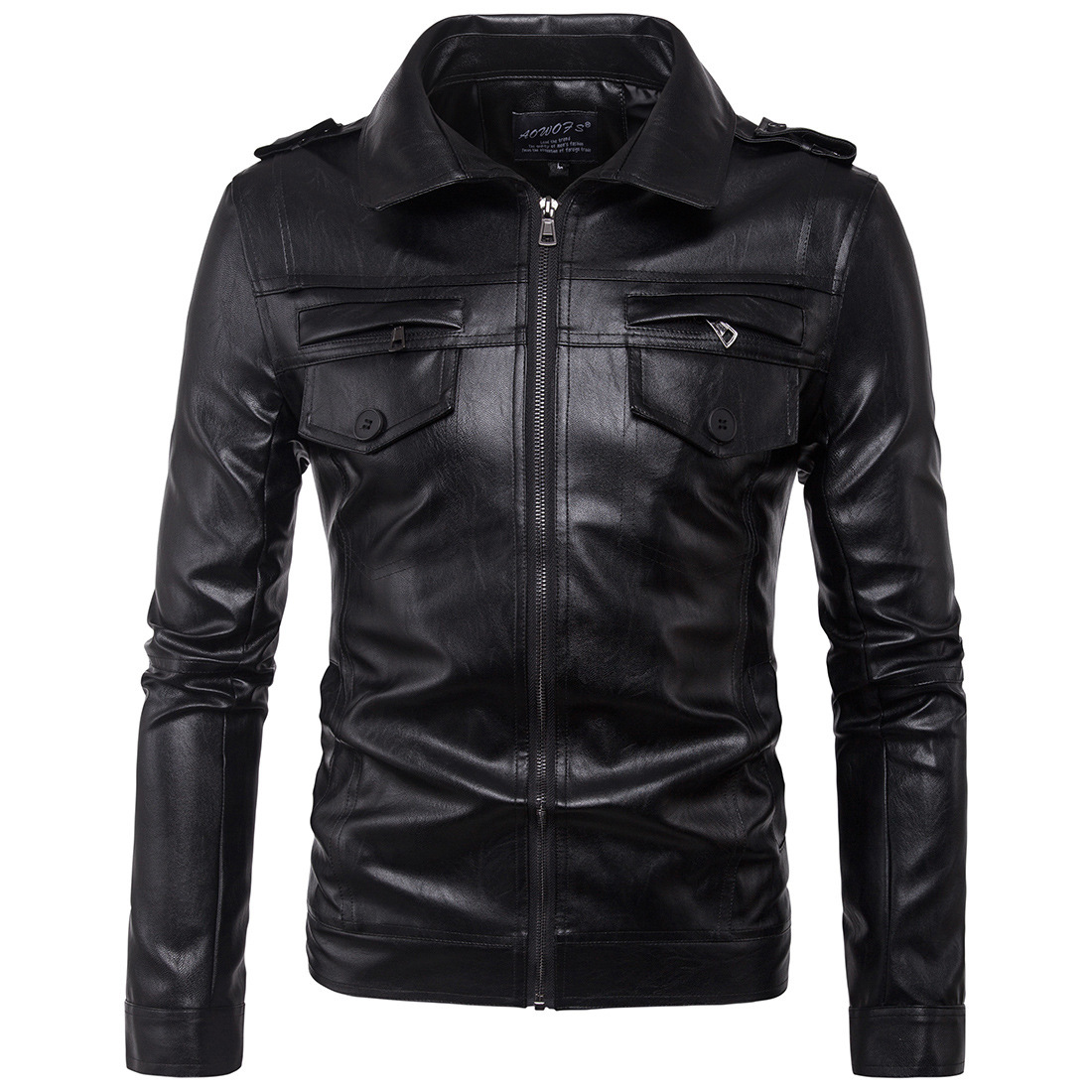 New Men's Leather Jacket Mens Men's Casual/Daily Simple Fall Winter Jacket Solid Stand Long Sleeve Regular PU Leather Coat G2O3