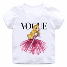 VOGUE Prinses Print Meisjes t-shirt Cartoon Grappig Casual Kids Kleding Zomer Harajuku Wit Baby T-shirt, HKP5209(China)
