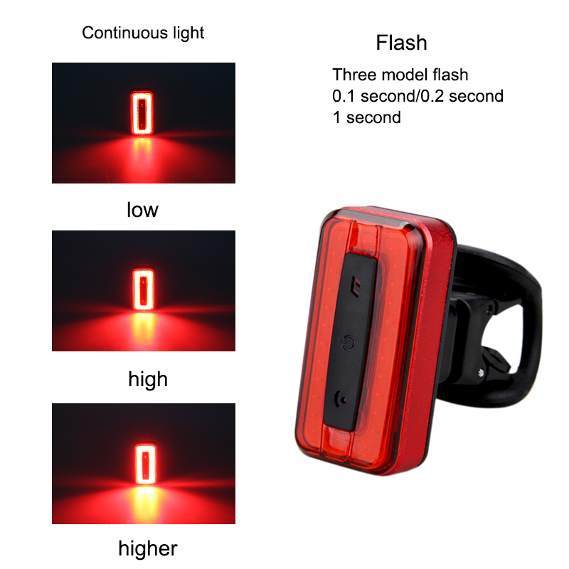 Cycling Bike Bicycle COB Back Rear Tail Light Lamp Safety Flashing Warning Red