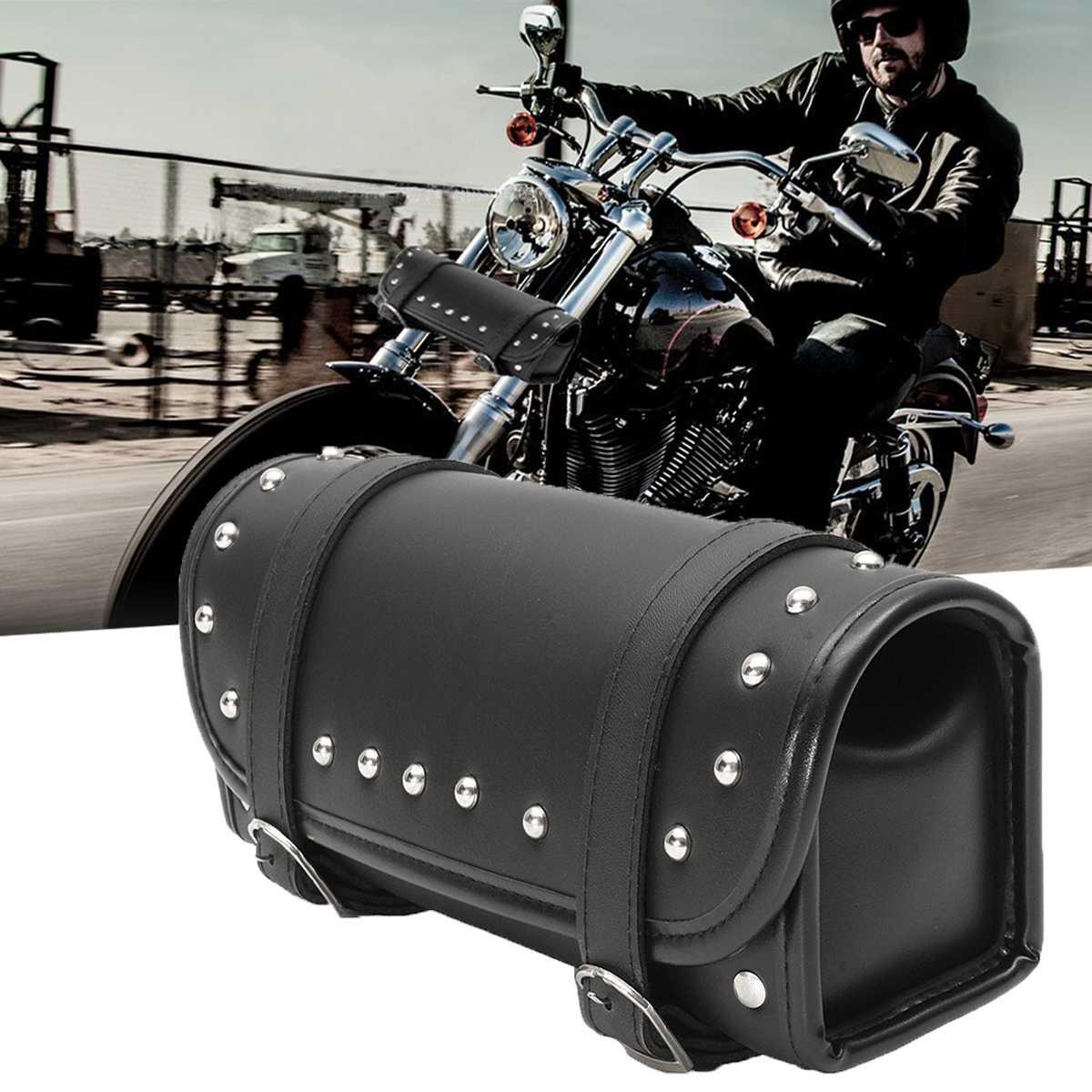 Universal Motorcycle Bike PU Leather Front//Rear//Side Tool Bag Luggage Saddle Bag