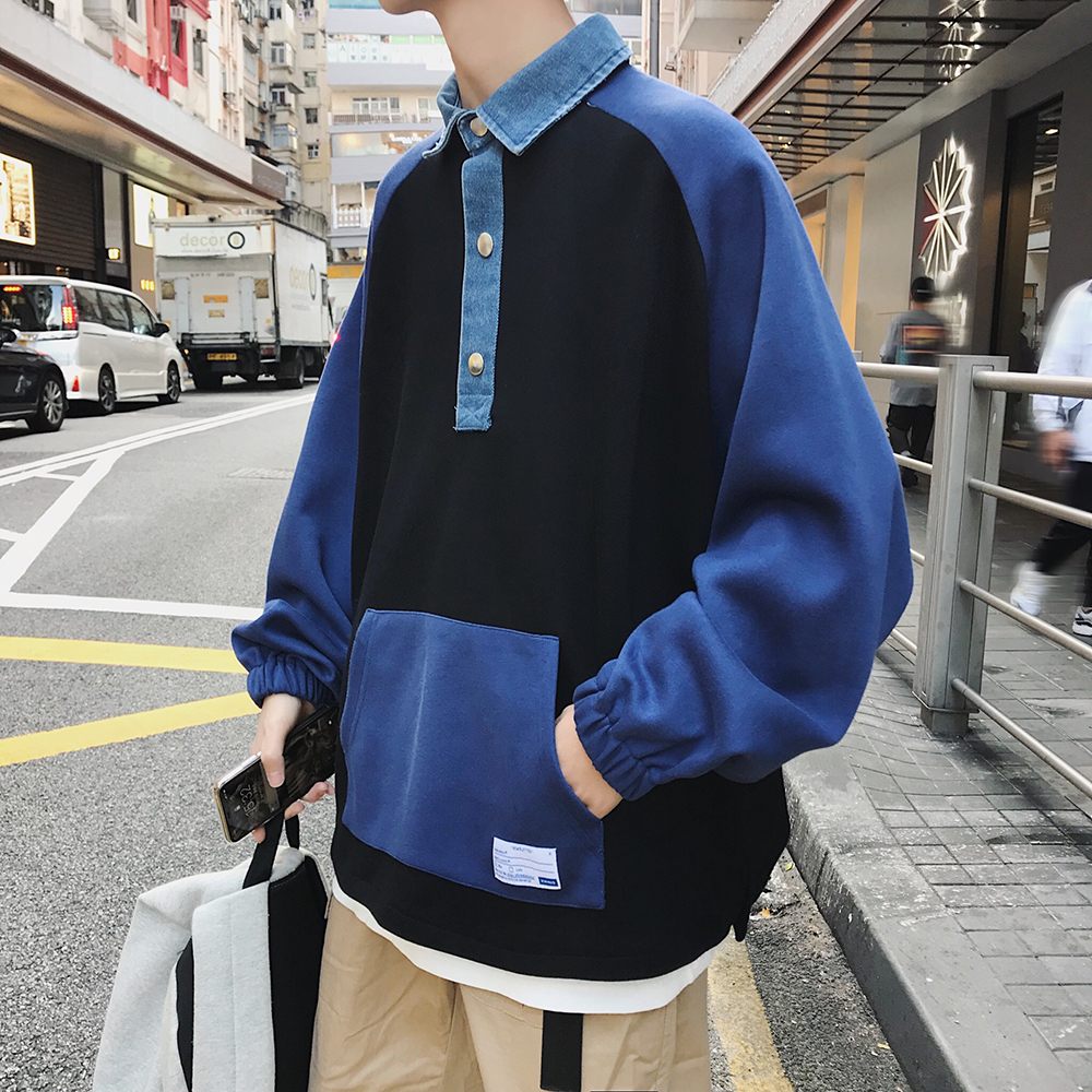 2018 Spring Men's Cowboy Lapel Pullover Loose Coats Hoodies Cotton Clothes Casual Grey/black/Apricot Color Sweatshirts M-XL