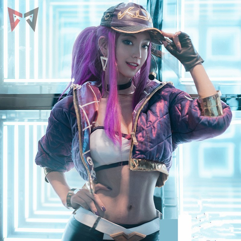 New fabric KDA Akali Cosplay Costume LOL game KDA Women Outfit Coat Pants Gloves Bag mask wig hat earrings big set