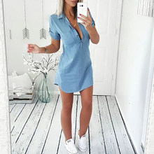 2019 Women Short Sleeve Slim Denim Dress Ladies Casual Shirt Dresses Casual Femme Clothes Costume Summer Fashion New Hot Sale(China)