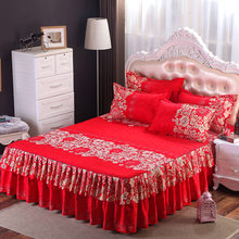 Bed skirt high quality cotton polyester purple flower bedspread bed matter cover bedding bed skirts bed cover(China)