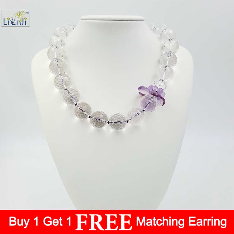 Lii Ji Natural Clear Quartz 18mm beads  Ametrine with 925 sterling silver Clasp Necklace