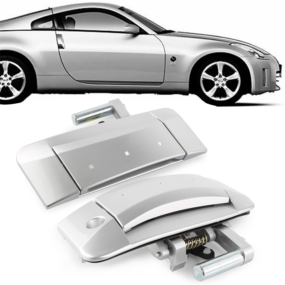 For 03-09 Nissan 350Z Left//Right PAIR Outside Outer Exterior Silver Door Handle