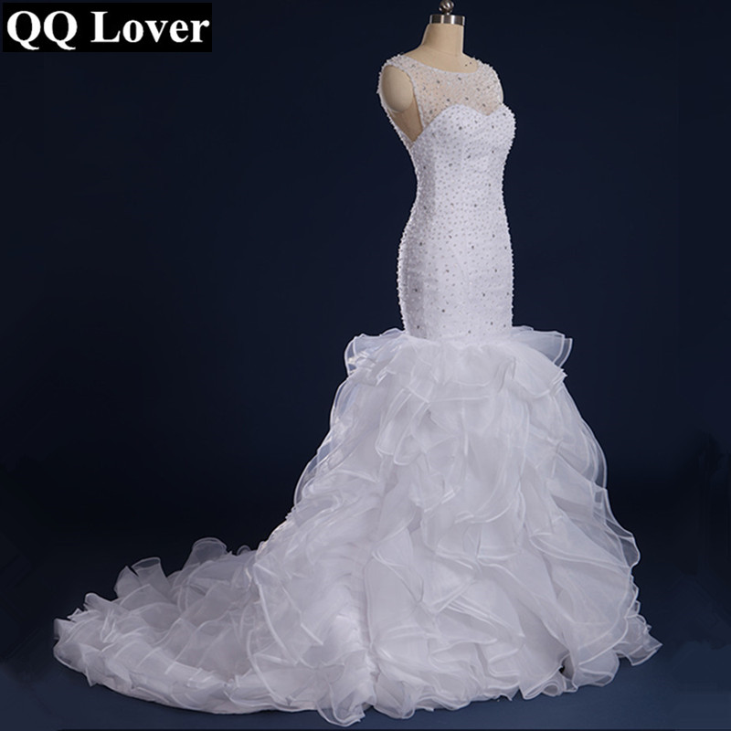 QQ Lover Gorgeous Beaded Mermaid Wedding Dresses 2019 Vestido De Noiva Sereia Sheer Back and Neck Ruffles Bridal Dress Gown