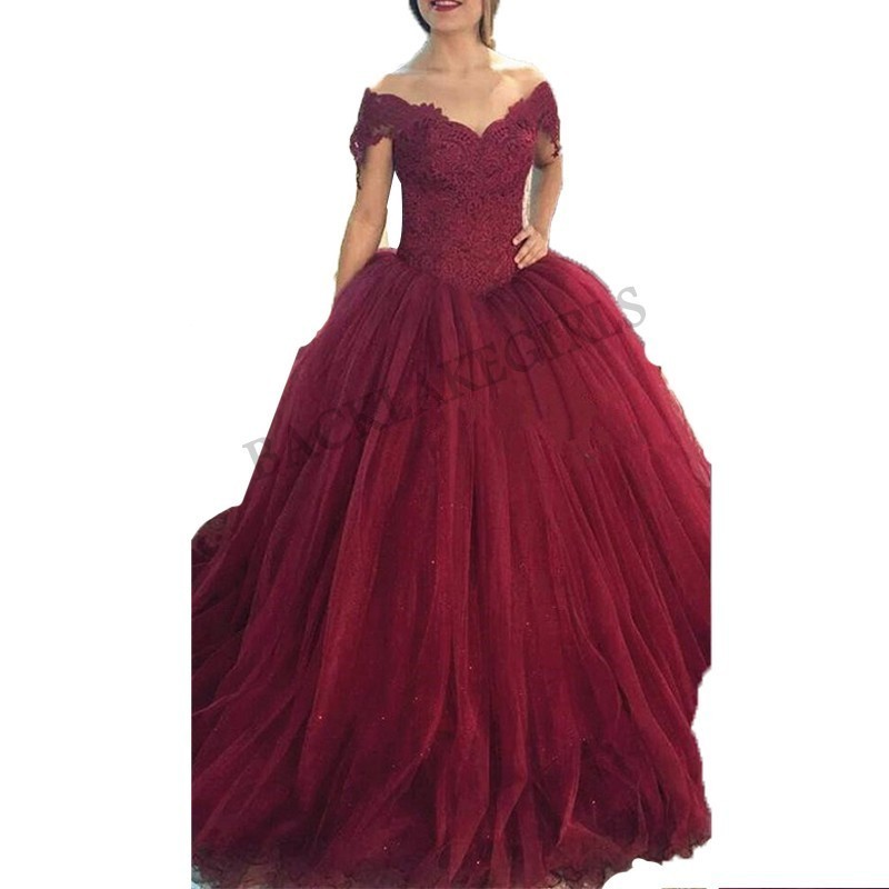 Newest Wine Red Evening Dresses Off Shoulder Lace Tulle Prom Party Gowns V-neck abendkleider 2019