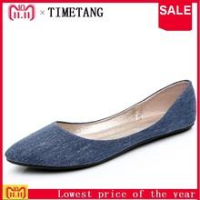 TIMETANG New Women Soft Denim Flats Blue Fashion High Quality Basic Pointy  Toe Ballerina Ballet Flat 8766812468f0