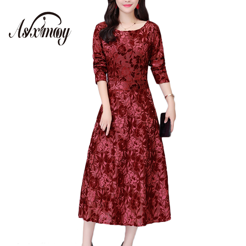 Office Formal Dress Women Elegant Plus Size 5XL Velvet O-neck Autumn Winter Dress Long Sleeve A-line Women Dresses Evening Party formal wear