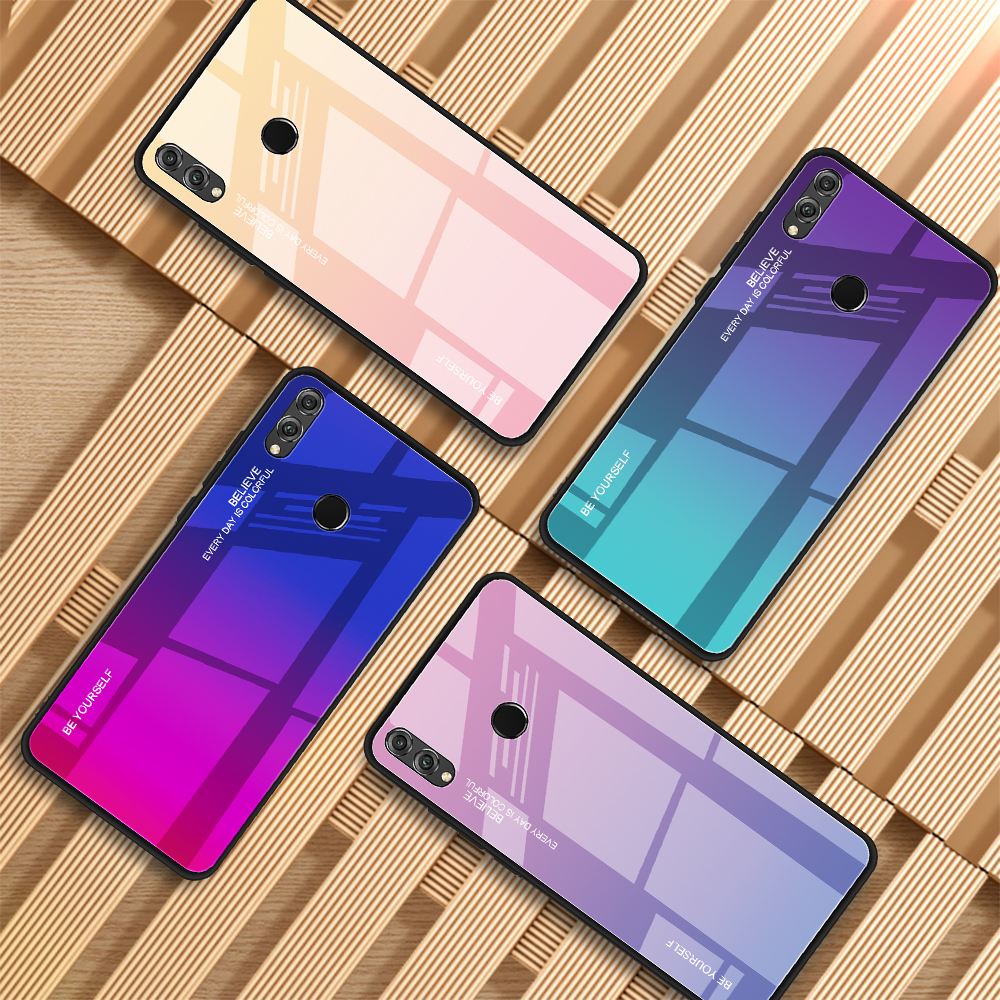 Colorful Gradient Phone Case For Huawei Y9 Y6prime P smart Plus 2019 Nova 4E 3i P30 P20 Pro Lite Honor 10i 20i 8A 8X Glass Cover(China)
