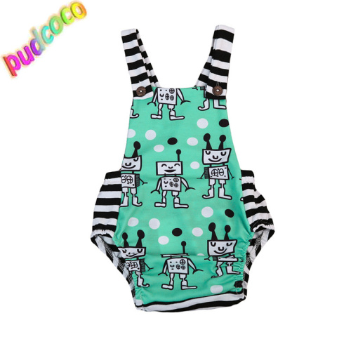 2019 Newborn Baby Boy Girl Robot Romper Jumpsuit Summer Clothes Outfit 0-18M Hot title=