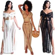 96e4988ca300 2018 Sexy European And American Women Club Cutout Perspective Club Knit  Skirt Amazon Beach Two-Piece Set