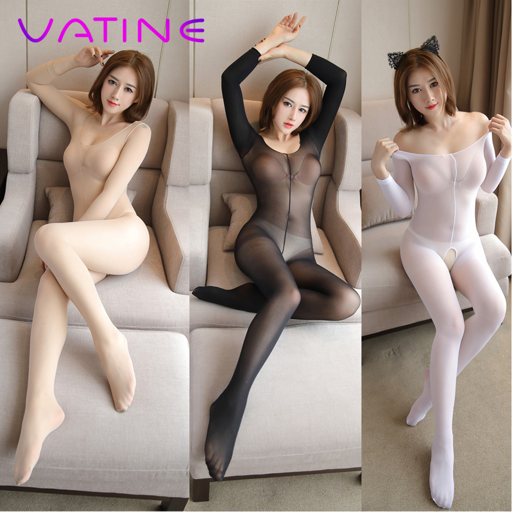 VATINE One-Piece Pantyhose Adult Products Exotic Apparel Open Crotch Stockings  Catsuit Long-Sleeved Stockings(China)