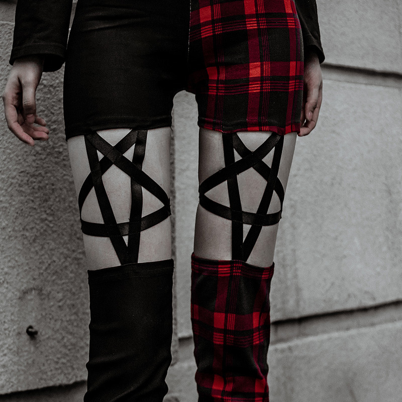 Sexy Stretch Skinny Pencil Pants Plaid Pentagram Leggings Women High Waist Elastic Hippie Trousers Five-Pointed Star Streetwear