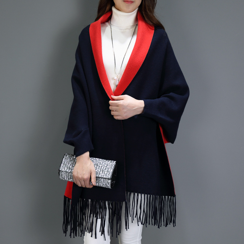 Autumn Winter Causal Loose Tassel Knitted Imitation Cashmere Scarf Bat Sleeves Women Long Thick Poncho Capes Duplex Women Shawl