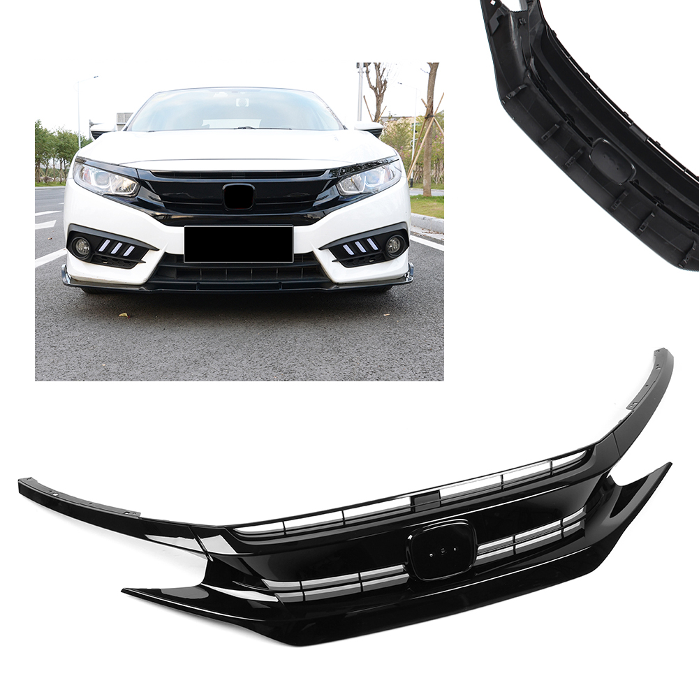 Car Racing Grille For Honda Civic Grill 10TH 2016-2018 Glossy Black Radiator Mesh Honeycomb Front Hood Bumper Modify