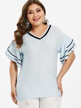 bcf18c644c4 Kenancy Plus Size V Neck Bell Sleeve Elegant Blouse Women Casual Summer  Blouses Solid Color Blue Shirts 2019 Fashion Blusas