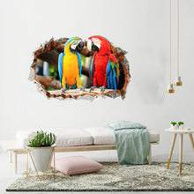 1x Removable Wall Stickers Parrot 3D Broken Wall Sticker PVC Decal Mural Home Bedroom Decoration(China)