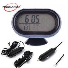 07921182f35 Bateria de carro Voltímetro Voltage Meter Monitor Tester + Noctilucous Relógio  Digital Termômetro Auto Carro Suprimentos