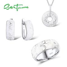 SANTUZZA Jewelry-Set Pendant Ring-Earrings 925-Sterling-Silver Flower HANDMADE Women