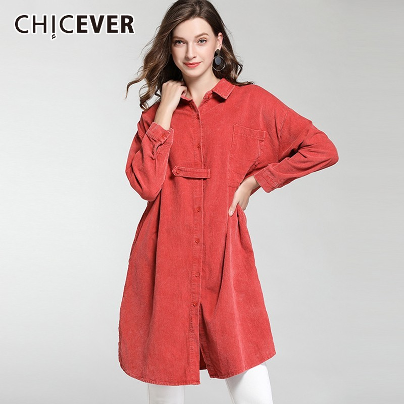 CHICEVER 2019 Spring Corduroy Blouse Women's Shirts Lapel Long Sleeve Loose Oversize Thick Blouses Tops Female Fashion New