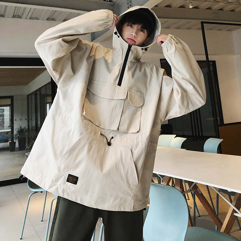 2019 Men's Fashion Loose Bf Style Coats Work Clothes Pullover Loose Hooded Hoodies Cotton Casual White/green Sweatshirt M-2XL