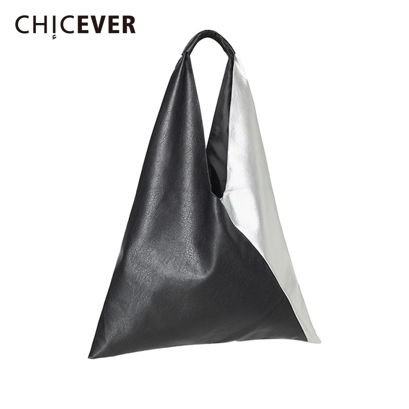 CHICEVER Patchwork Hit Color Glove For Women With Handbag Vintage Casual Shoulder Bag Ladies' PU Leather Handbag Fashion Tide