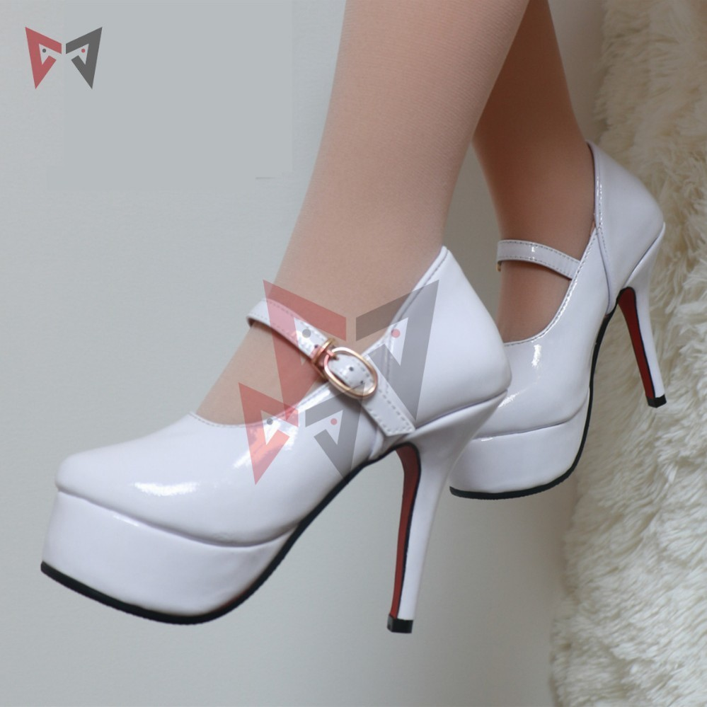 MMGG Hatsune Miku cosplay  shoes high heel white shoes for 100cm real dolls custom made color