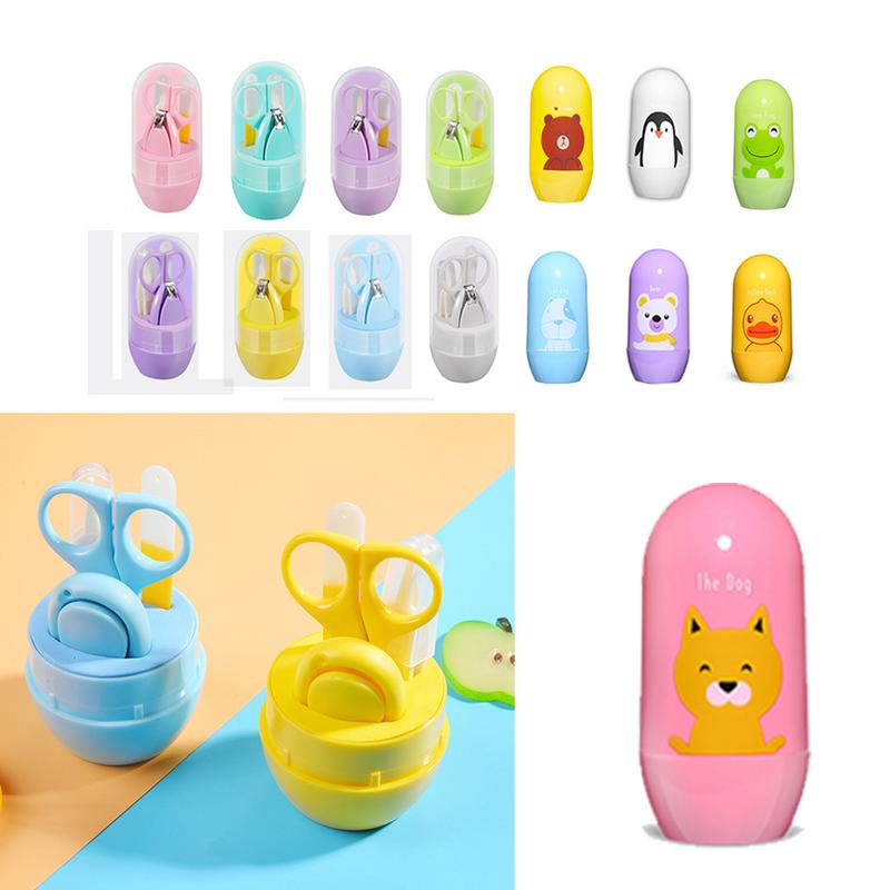 4pcs Baby Healthcare Kits Baby Nail Care Set Infant Finger Trimmer Scissors Nail Clippers Cartoon Animal Storage Box For Travel Selling Well All Over The World Baby Care