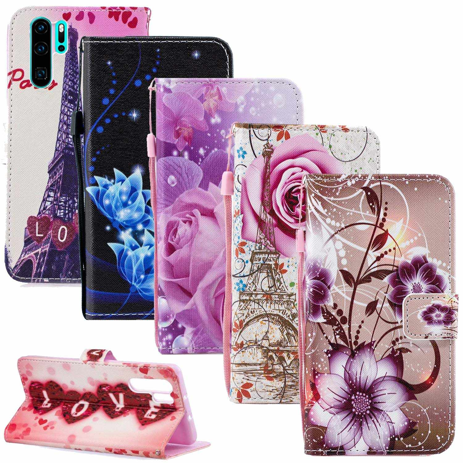 P20 P30 Pro Flower Leather Cases For Huawei Honor 10 9 Lite 7A 7C 8A 8C P Smart Nova 3 3i Y7 Y9 Y5 Y6 Prime 2018 Case Wallet Bag