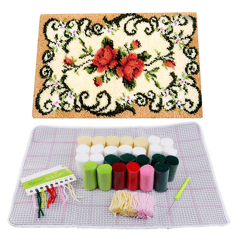 Rug-Kit Carpet Cushion Latch-Hook Embroidery Flower Needlework 1pc DIY Decorative title=