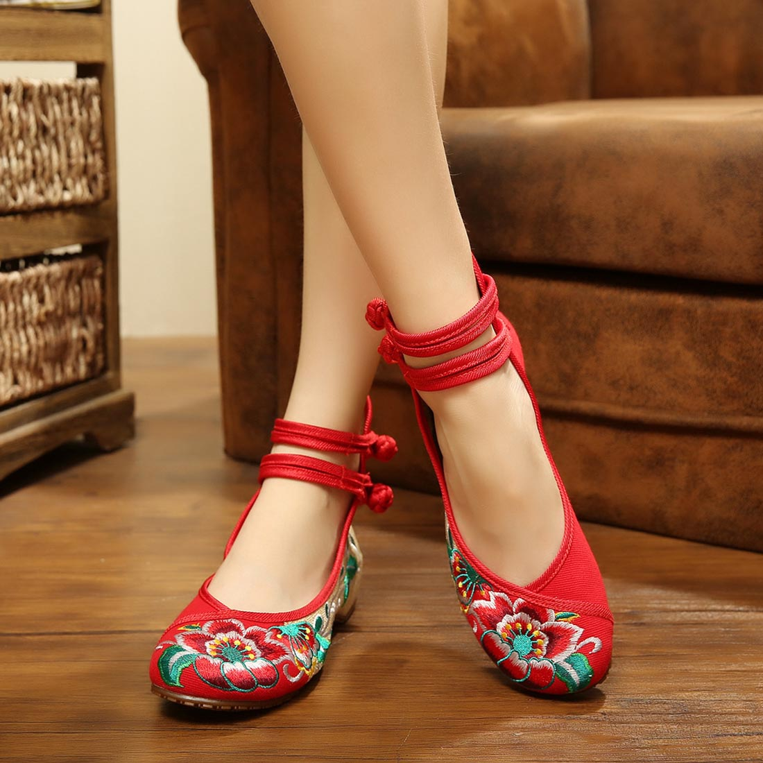 Flats Embroidery Chinese-Shoes Fabric Canvas Large-Size Casual Mary Jane Women Flower