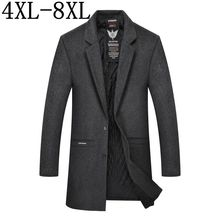 Size 6XL 7XL 8XL 2018 Autumn Winter Male Woolen Coats Middle Long Wool Blends