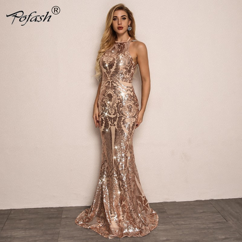 POFASH Halter Mesh Sexy Bodycon Sequin Dress Women Off Shoulder Summer Dresses 2019 Eleagnt Party Floor Length Dress Vestidos