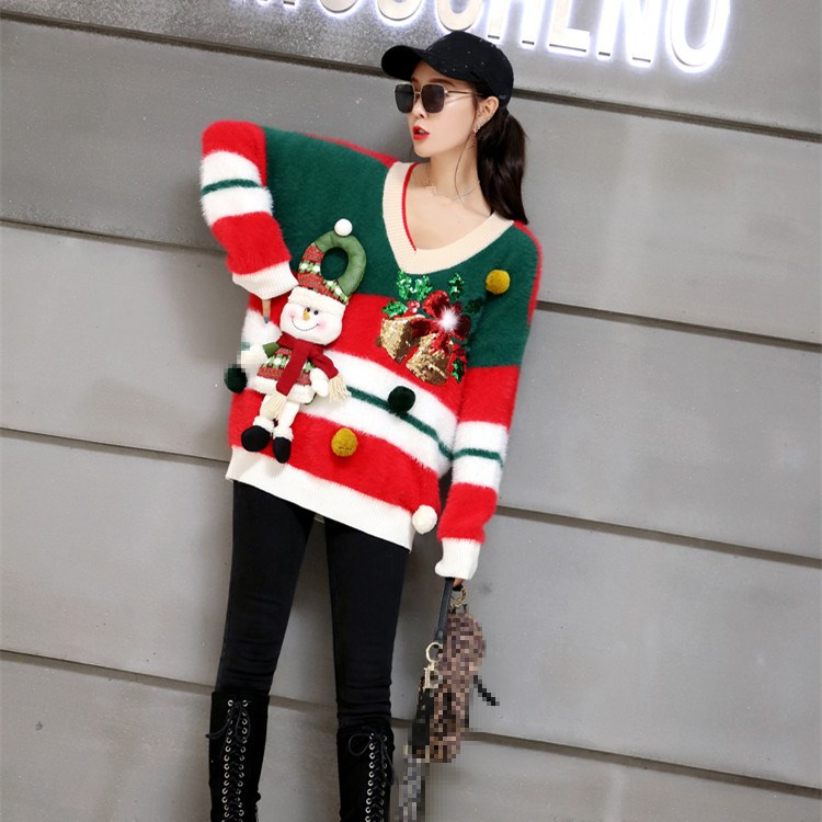 Winter Christmas Snow Man Striped Sequins Party Long Knitted Tops Women Warm Red Long Sleeve Loose Pullover Sweater