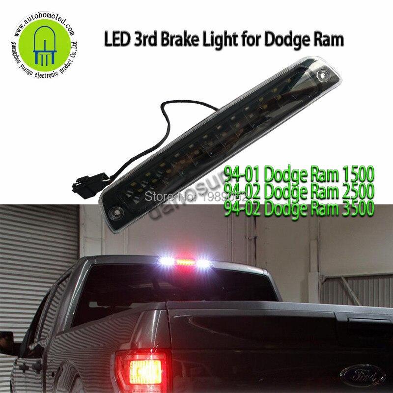 3rd Brake Light High Mount Brake Light 55054706//55054845 LED Rear Light Black+Clear Lens Fit for 94-01 Dodge Ram 1500 94-02 Dodge Ram 2500 94-02 Dodge Ram 3500 Fits Models with Cargo Lights Only