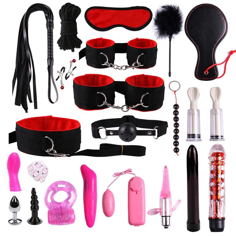 Suit Sex Toys Adult 22PCS/set Leather Nylon Plush Bondage Set Restraints Sex For Couples Woman Slave SM Sexy Erotic Toy Handcuff(China)