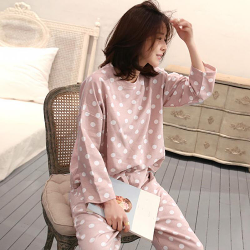 Pajamas Cute Nightwear Tops Women Sleepwear Pants 2PCS Casual Home Polka-Dot title=