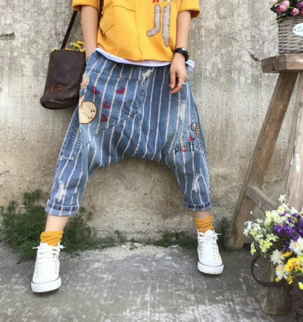 Women Baggy Low Crotch Denim Pants Boyfriend Sagging Skateboard Joggers Trousers  Do Old Style hip hop cowboy Harem Bloomers